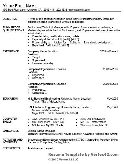 resume cv templates