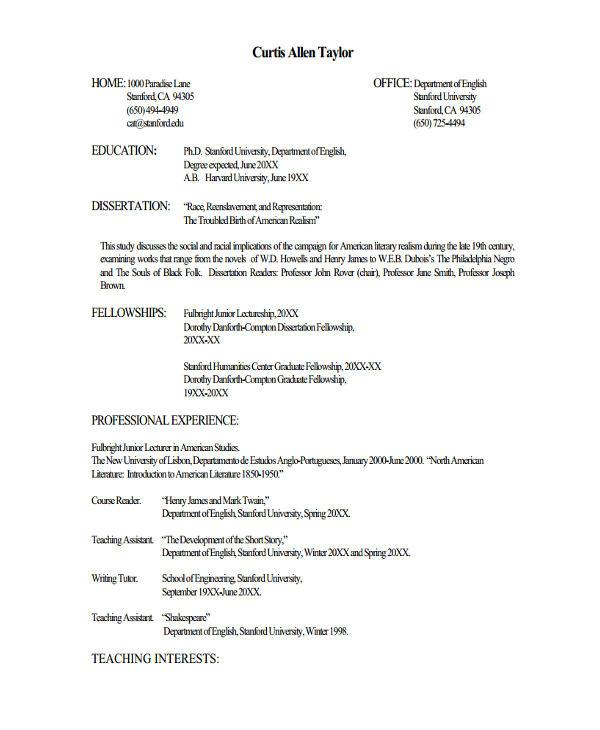 Resume format for Lecturer Job Fresher Lecturer Resume Templates 7 Free Word Pdf