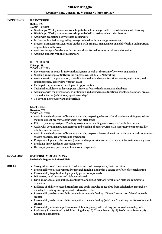 lecturer resume sample