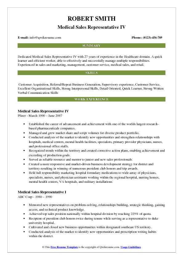 Resume format for Medical Representative Fresher Pdf Medical Sales Representative Resume Samples Qwikresume