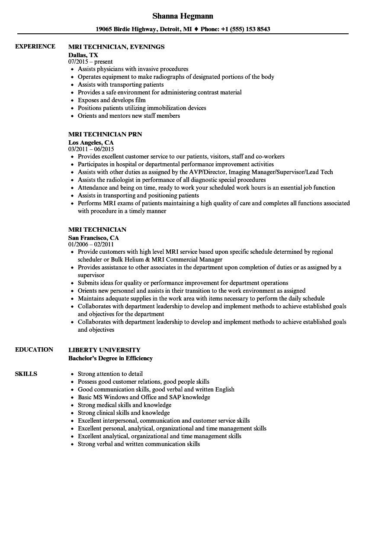 Resume format for Mr Job Mri Technician Resume Samples Velvet Jobs