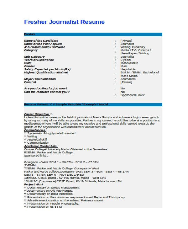 Resume format for News Reporter Fresher Journalist Resume Template 5 Free Word Pdf Document