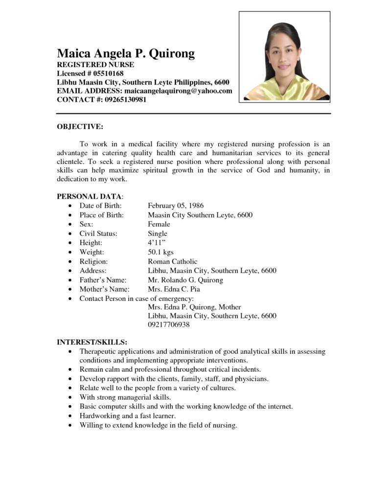 Resume format for Nursing Job Resume Nurses Sample Sample Resumes