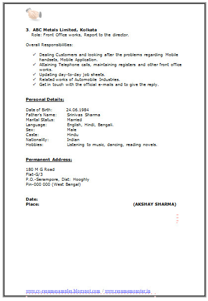 resume format for ma experience