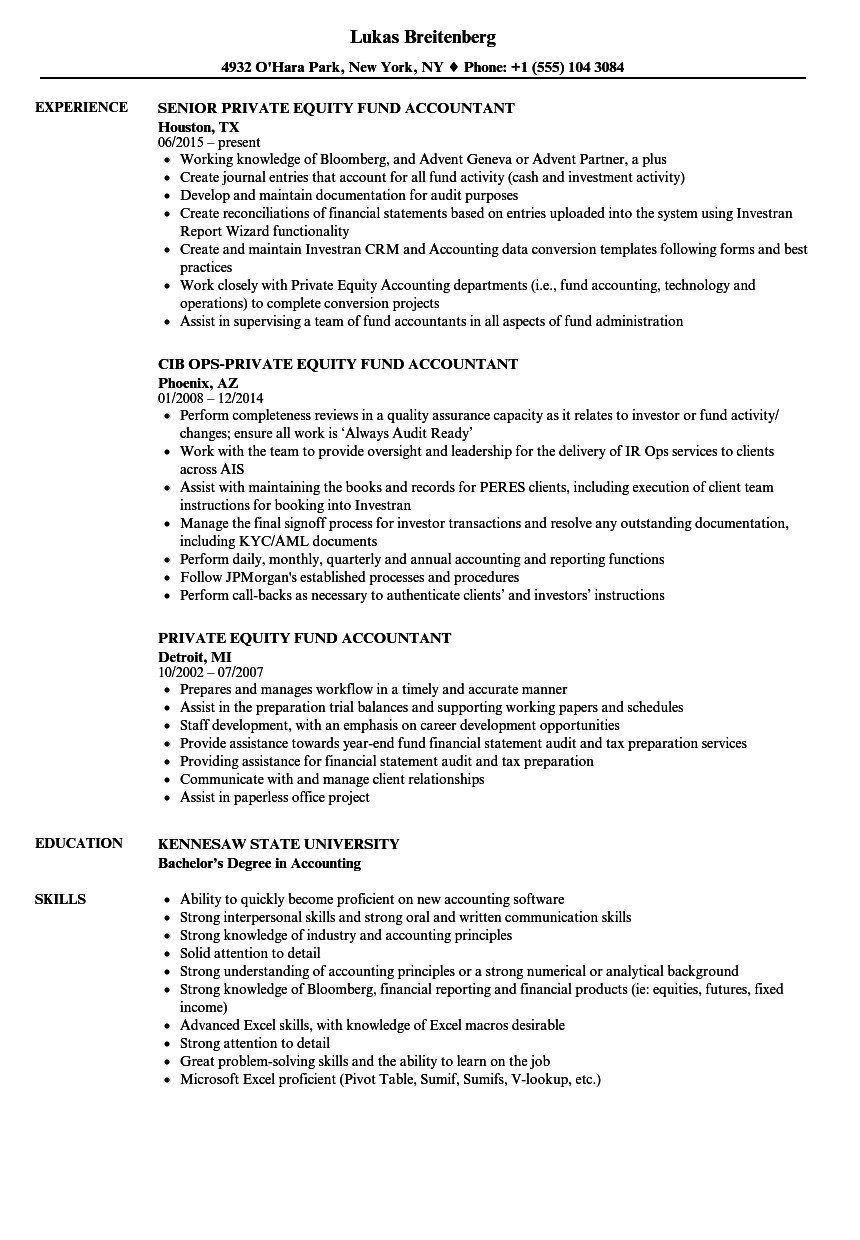 private equity fund accountant resume sample