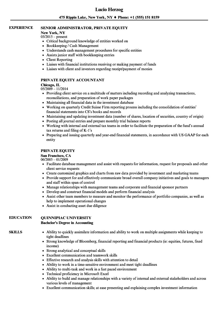 private equity resume sample