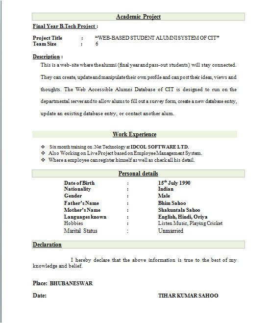 Resume format for Radio Jockey Fresher Contoh Cover Letter Untuk Cari Kerja Mathieu Comp Sci
