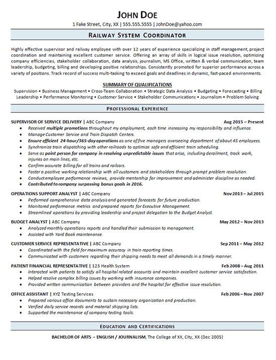 Resume format for Railway Job Railroad Resume Example Railway Operations Service