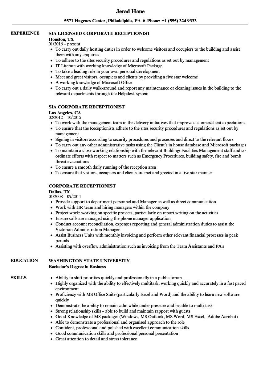 Resume format for Receptionist Job Receptionist Resume Sample Ipasphoto