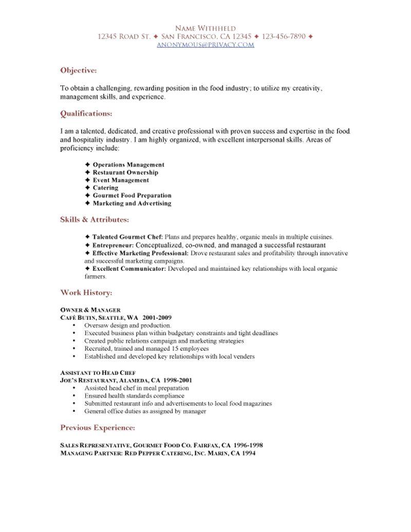 Resume format for Restaurant Job Sample Restaurant Resumes Restaurant Functional Resume