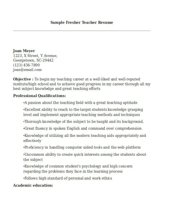 Resume format for Teacher Job Pdf Teacher Resume Sample 37 Free Word Pdf Documents