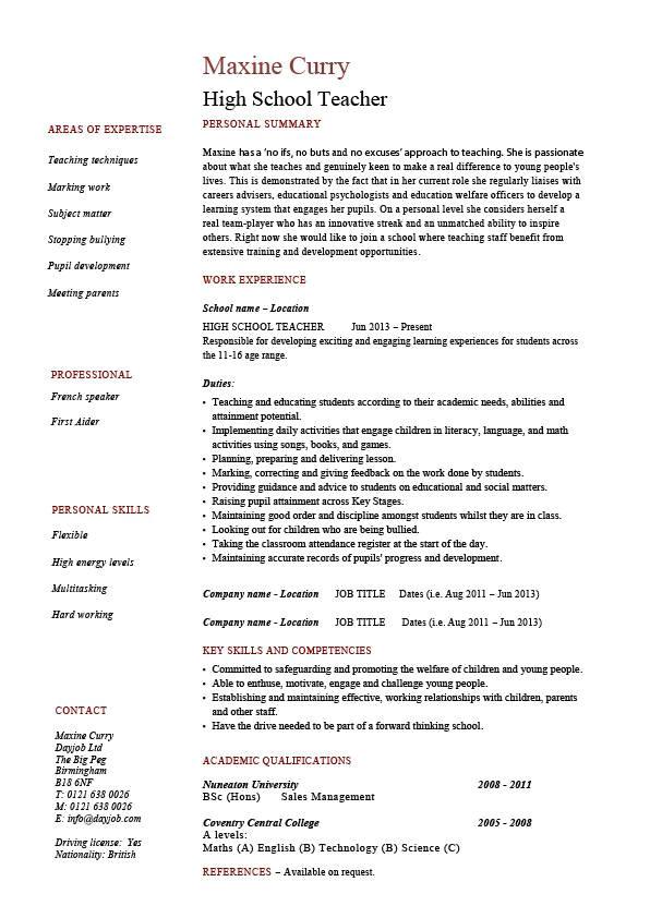 Resume format for Teaching Job In College High School Teacher Resume Template Example Sample