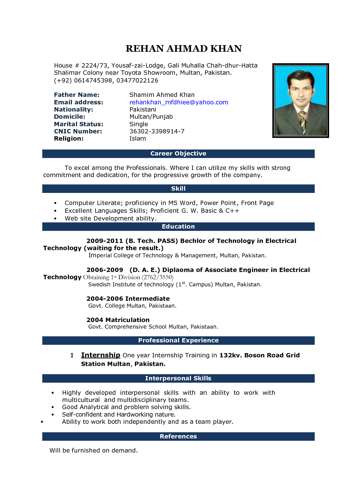 Resume format In Word 2007 Image Result for Cv format In Ms Word 2007 Free Download