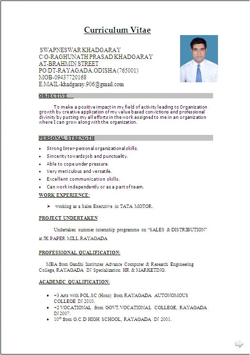 Resume format In Word File with Photo Download Resume format Write the Best Resume