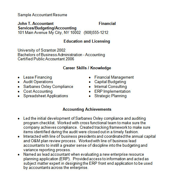 sample accounting resume