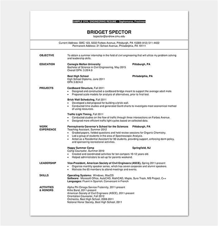 Resume format In Word for Civil Engineer Fresher Resume Template for Freshers 18 Samples In Word Pdf