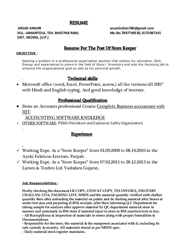 Resume format In Word for Store Keeper Store Keeper Resume