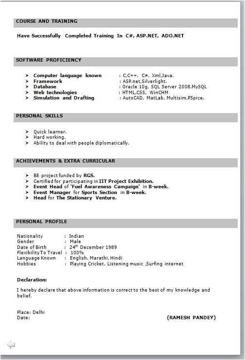 Resume format In Word It Fresher Resume format In Word