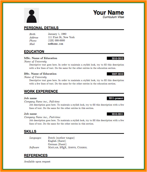 Resume format Of Word File 5 Cv format Ms Word File theorynpractice