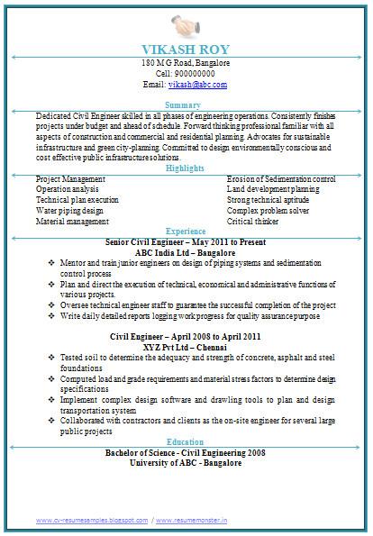 civil engineering resume doc