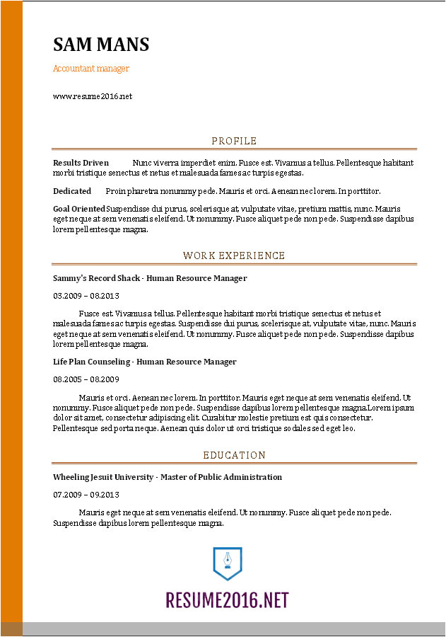 Resume format Word for Accountant Accountant Resume Sample 2016