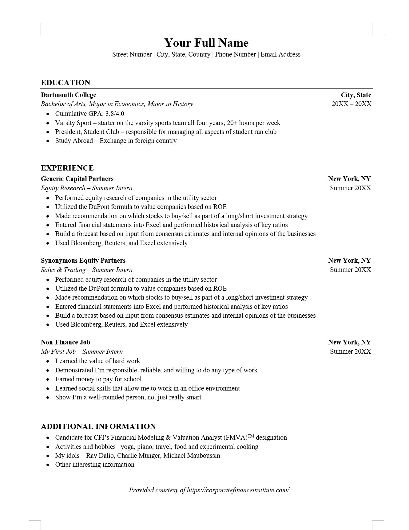 investment banking ib resume word template