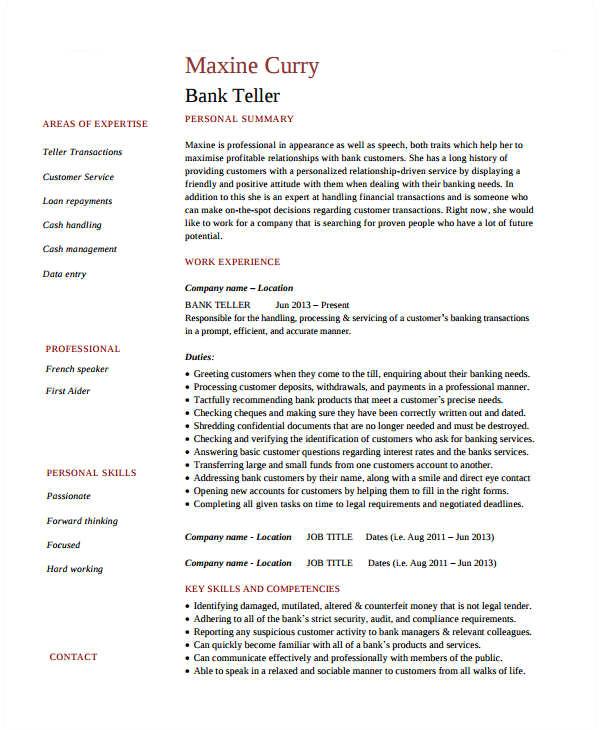basic banking resume
