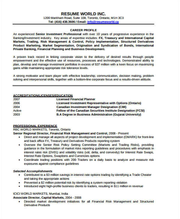 Resume format Word for Banking Sector Banking Resume Samples 46 Free Word Pdf Documents