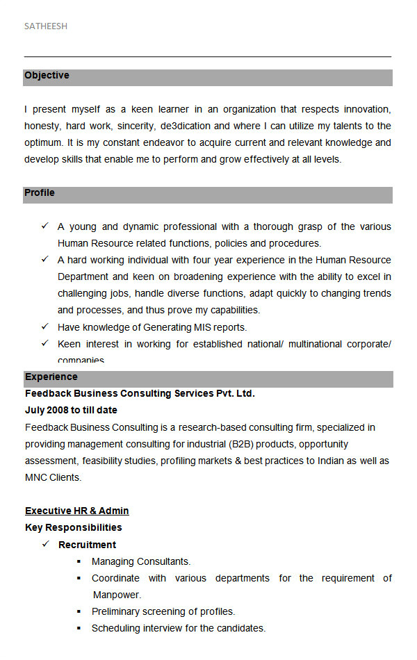 Resume format Word for Hr 26 Hr Resume Templates Doc Free Premium Templates