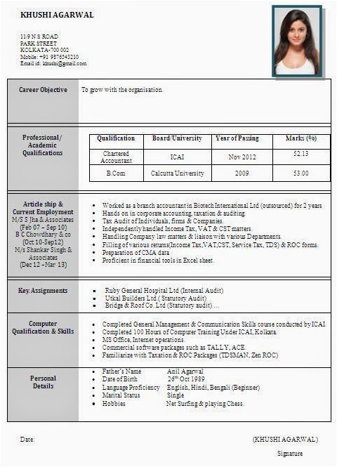 Resume format Word In Hindi Best Resume formats for India Download