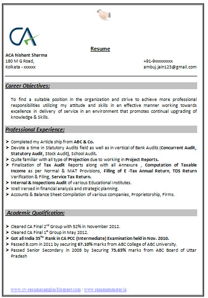 indian chartered accountant resume