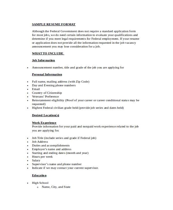 Resume format Word Simple Simple Resume format 9 Examples In Word Pdf