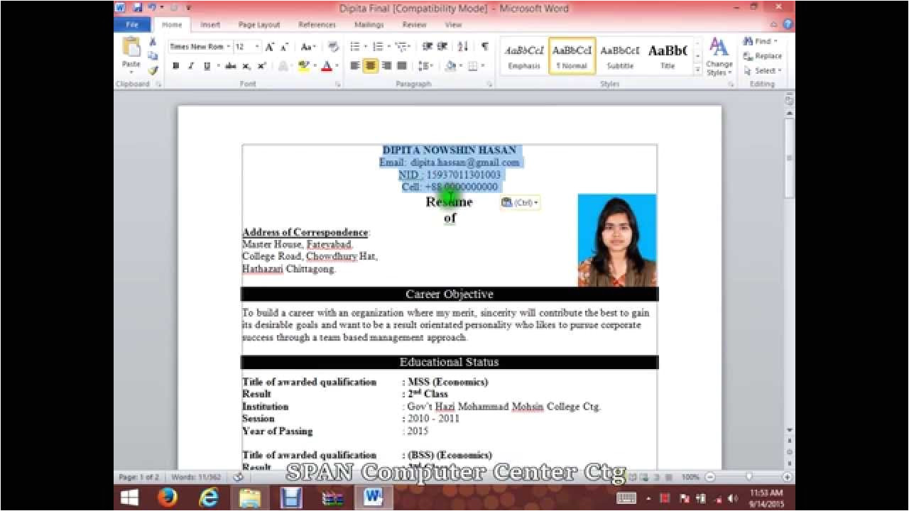 Resume format Word Youtube How to Write A Cv Resume with Microsoft Word Hd Youtube