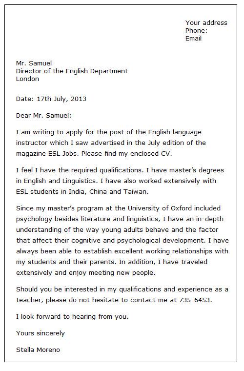 7 english job application letter format