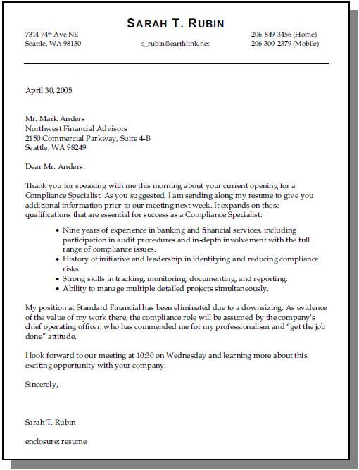 sample cover letter not for specific job