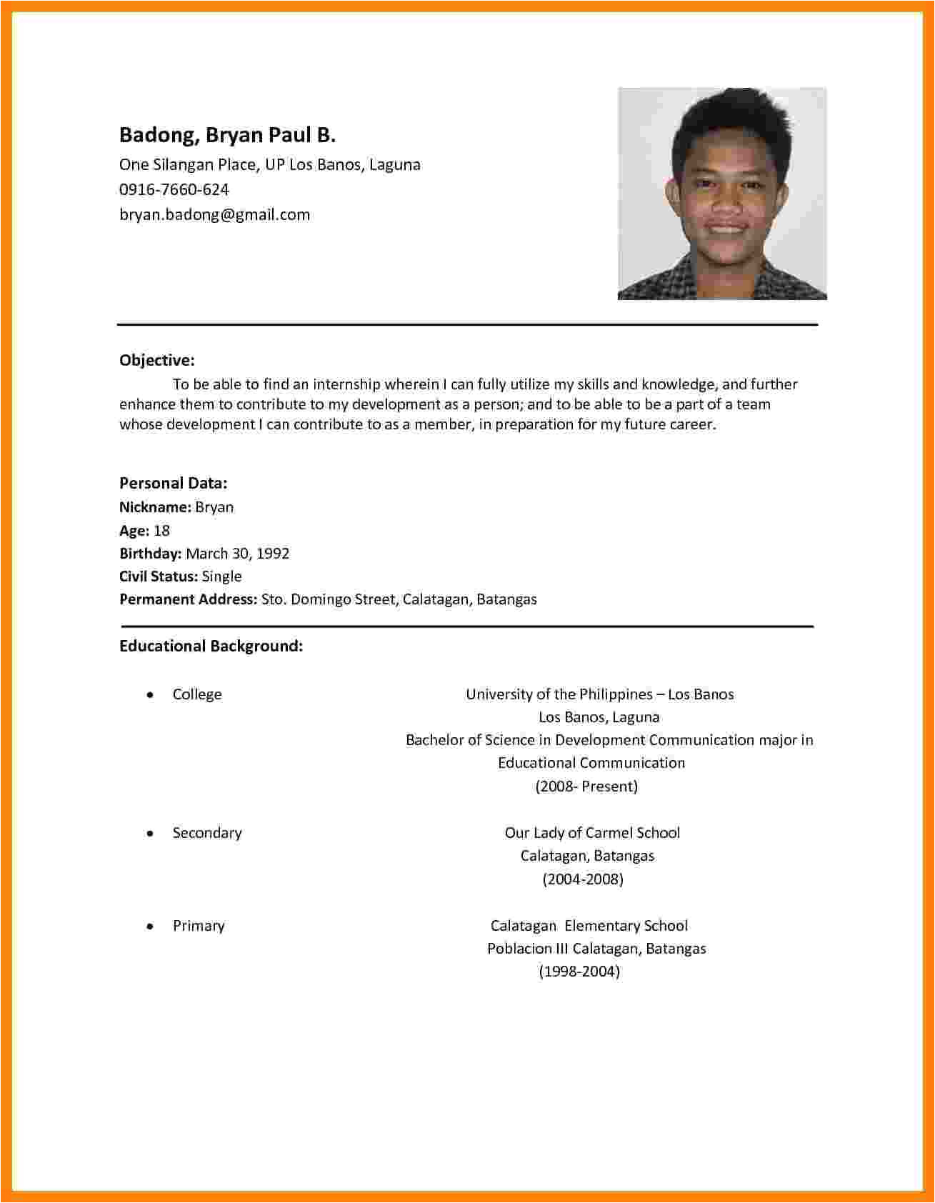 5 cv sample for job application pdf