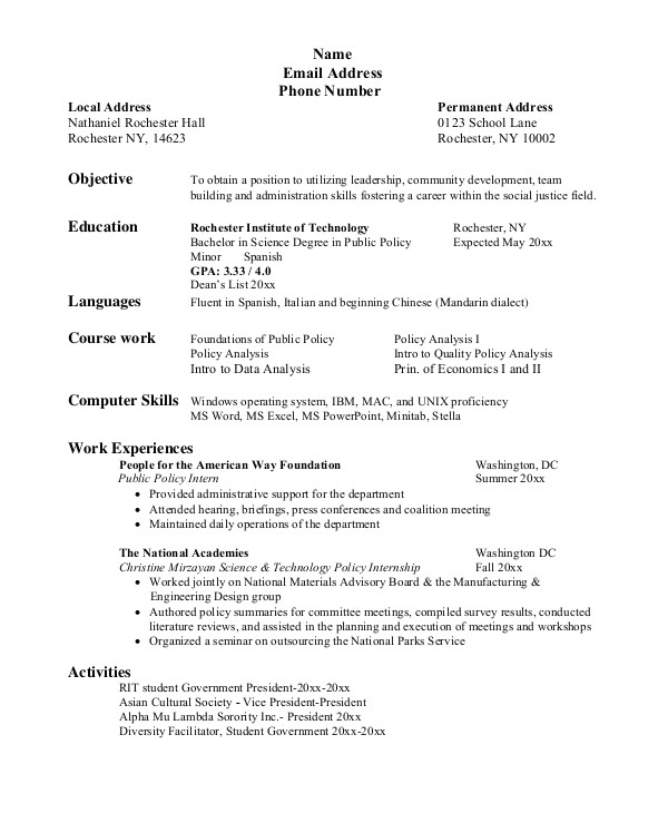 resume for college student
