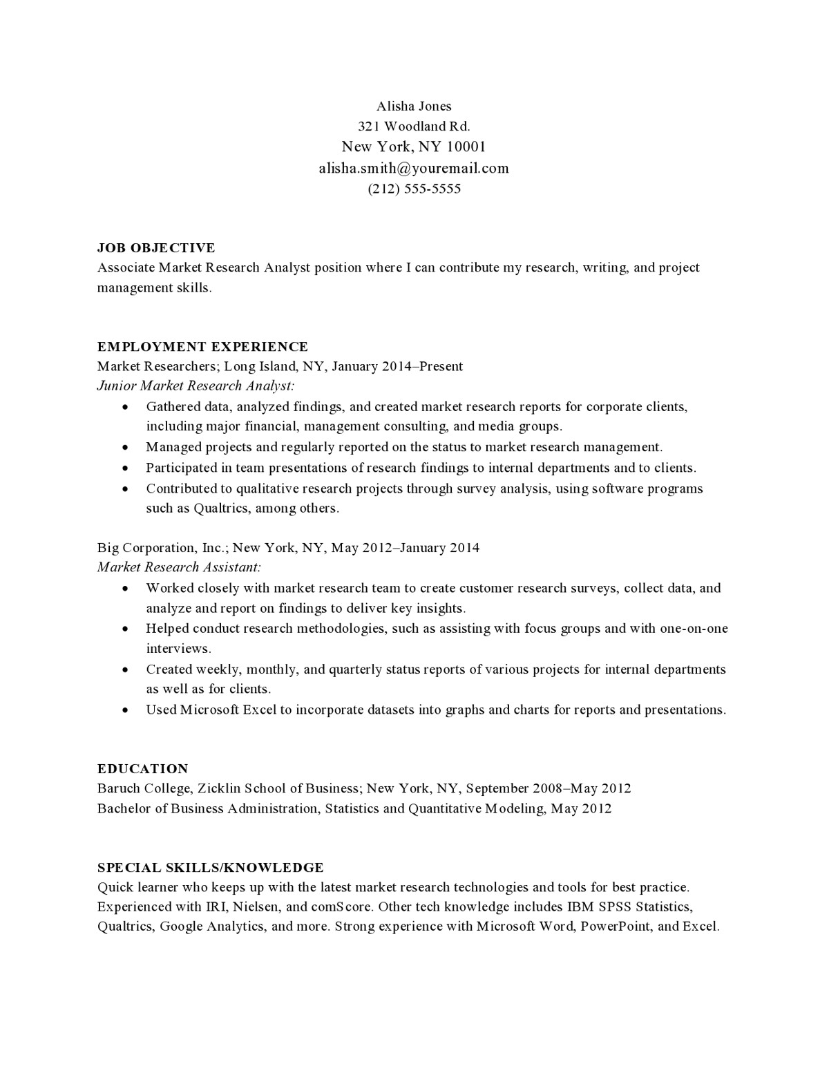 market research entry level chronological resume objective