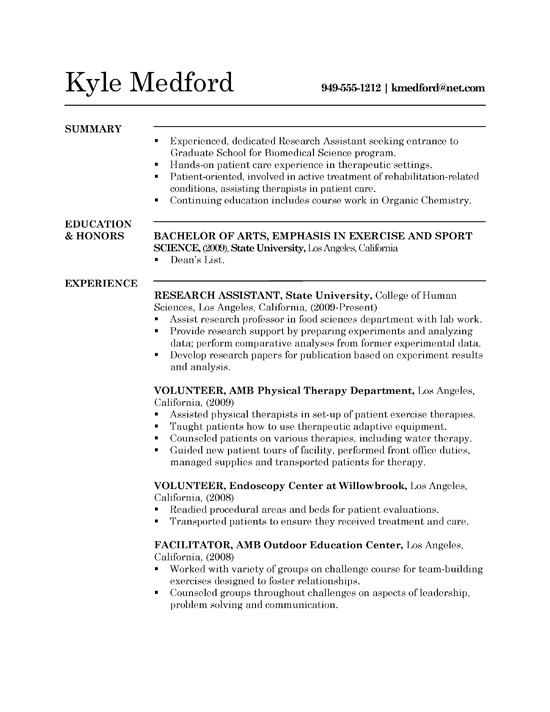research assistant resume example