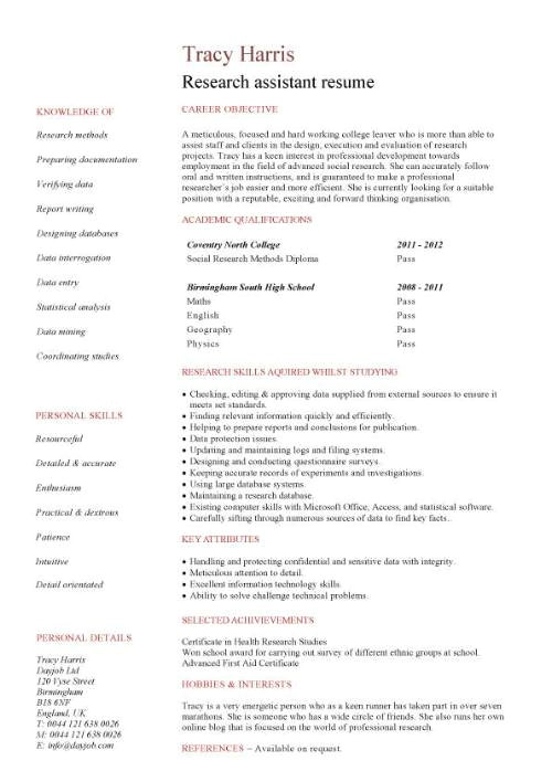 student entry level research assistant resume template 1037
