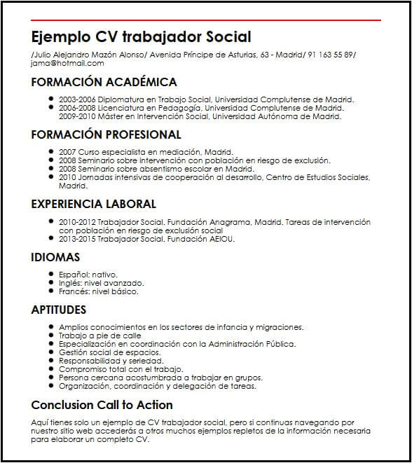 Resume Profesional De Trabajo social Modelo Cv Trabajador social Micvideal Es