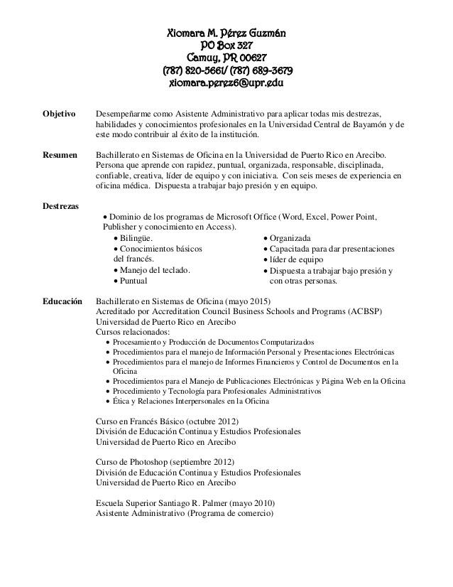 Resume Profesional Puerto Rico Resume De Trabajo Puerto Rico Proofreadingwebsite Web