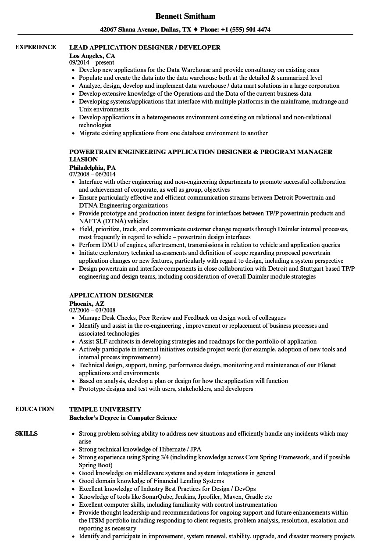 application designer resume sample