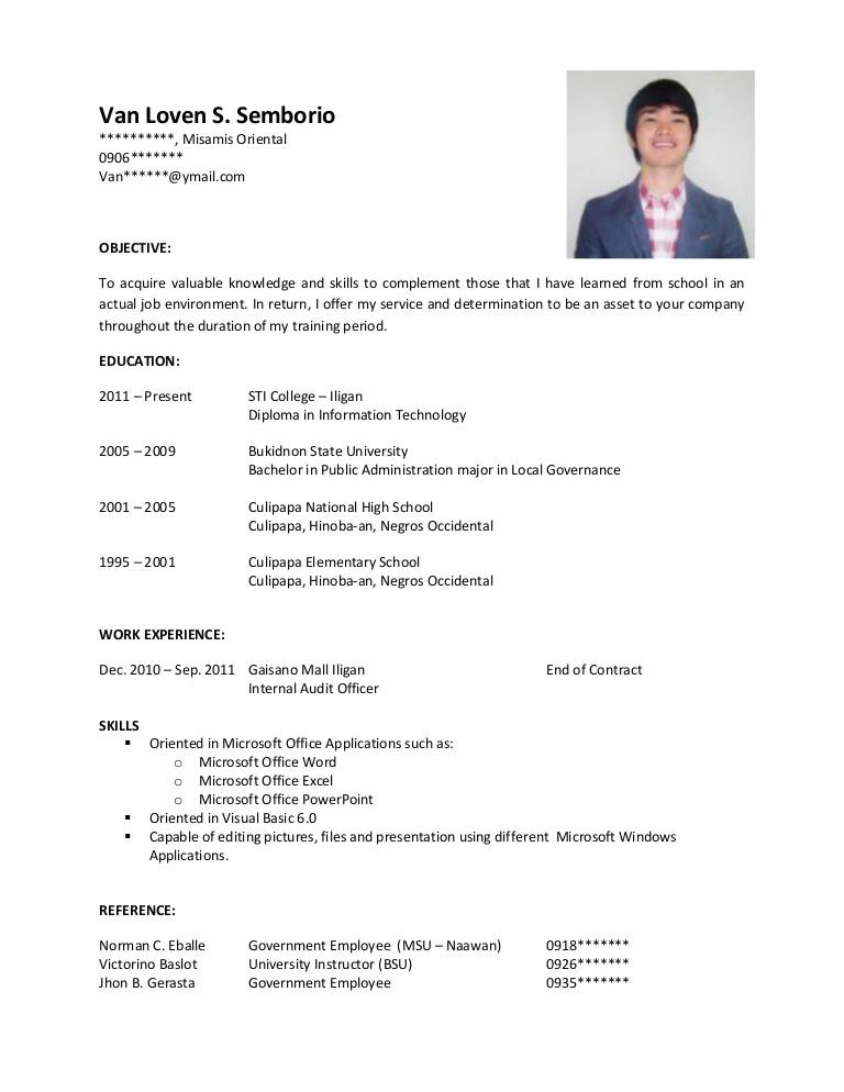 Resume Sample for Ojt Sample Resume for Ojt
