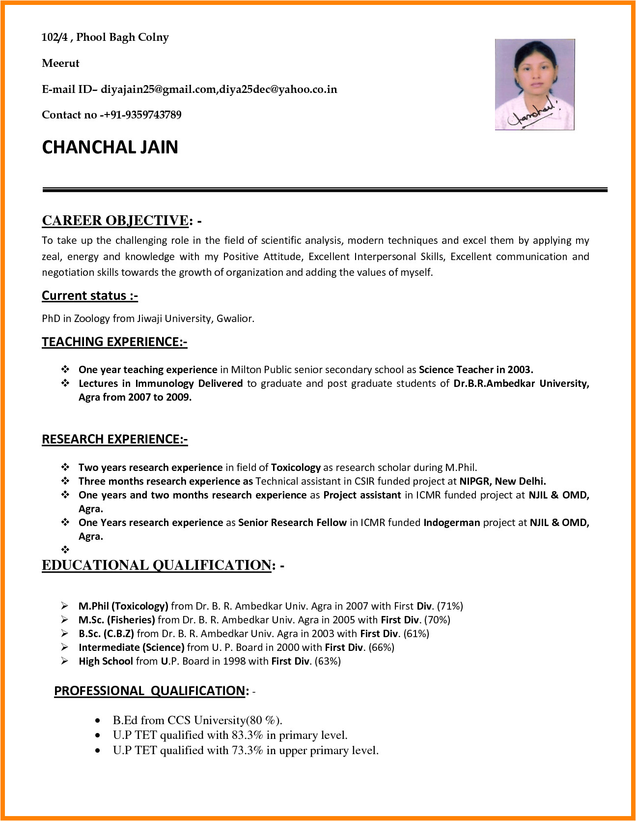 Resume Sample format for Job 7 Cv Sample for Teaching Job theorynpractice