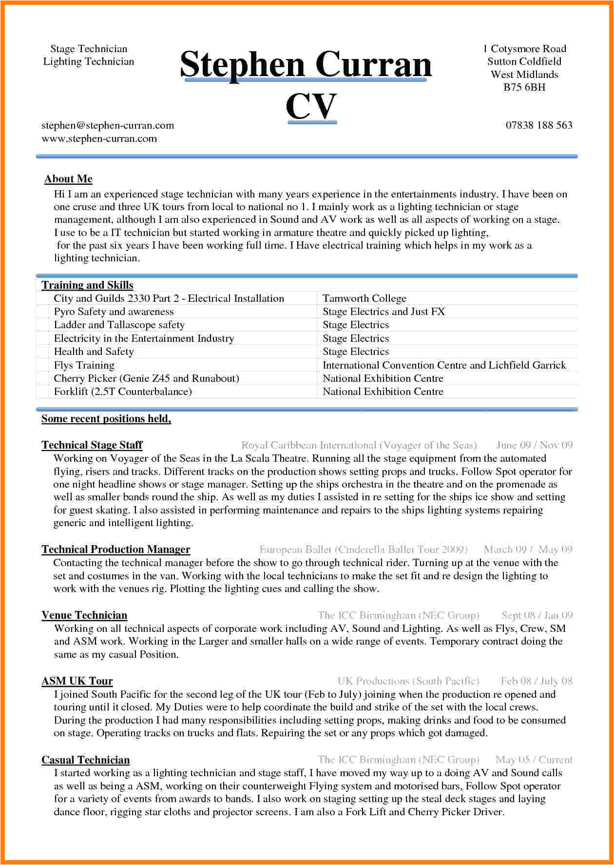 Resume Sample Word Doc 5 Cv Sample Word Document theorynpractice