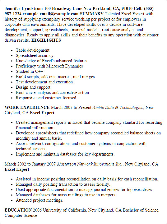 Resume Sample Xls Professional Excel Expert Templates to Showcase Your