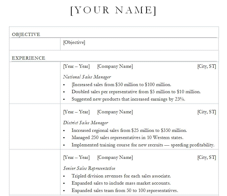 resume template excel free