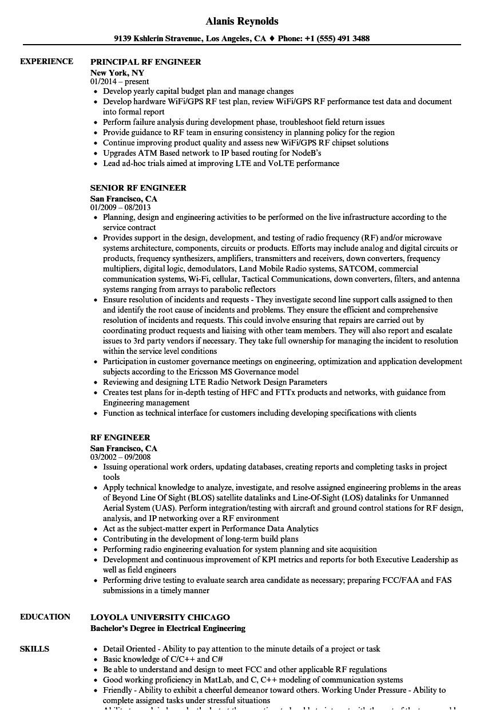 Rf Engineer Resume Rf Engineer Resume Samples Velvet Jobs
