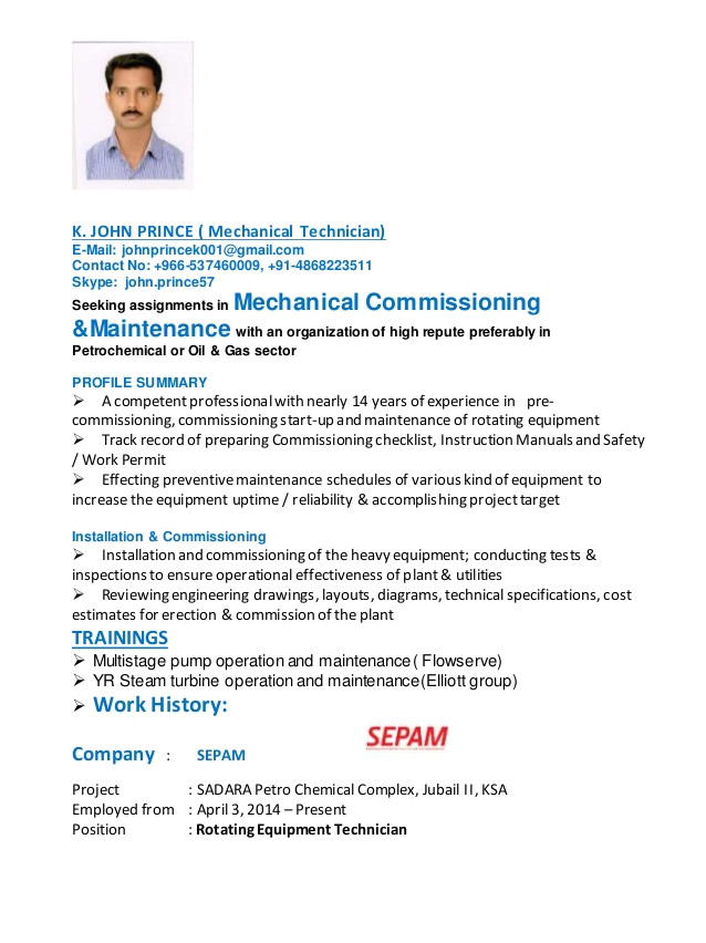 resume of john prince rotating equipment technician